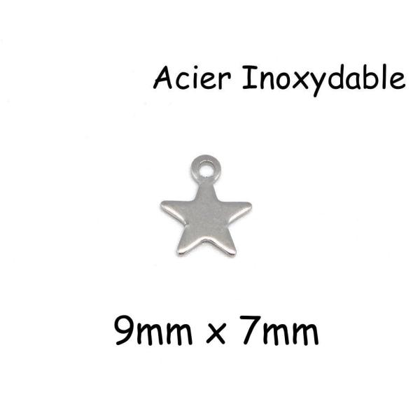 20 Petites Breloques Étoile Argenté En Acier Inoxydable 9mm - Photo n°1