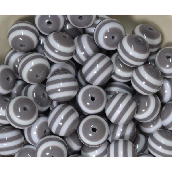 10 Perles en Acrylique Ronde Rayées 10mm Couleur Gris - Photo n°3