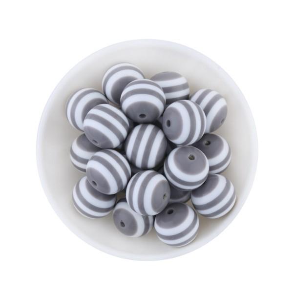 10 Perles en Acrylique Ronde Rayées 10mm Couleur Gris - Photo n°1