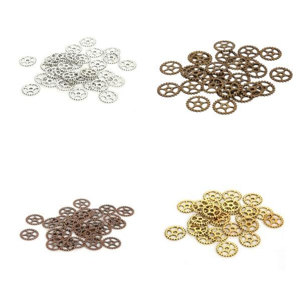 10 Pendentif Breloque 15mm Bronze Rouage Machine Engrenage Couleur Argenté Creation Collier, Bijoux - Photo n°2