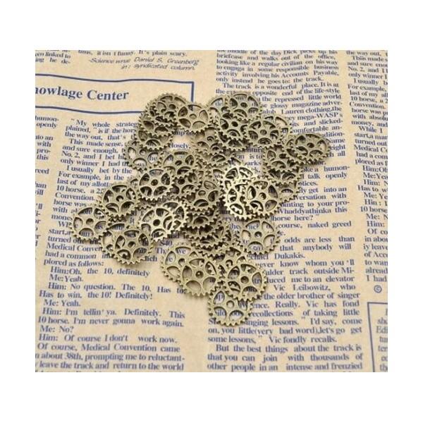 10 Pendentif Breloque 15mm Bronze Rouage Machine Engrenage Couleur Argenté Creation Collier, Bijoux - Photo n°1