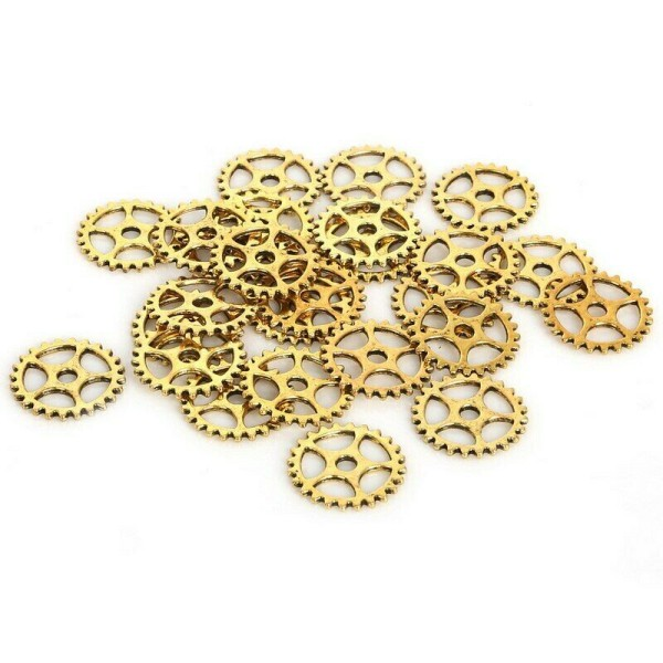 10 Pendentif Breloque 15mm Doré Rouage Machine Engrenage Couleur doré Creation Collier, Bijoux - Photo n°1