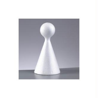 Cône polystyrène avec une boule au sommet, haut 15 cm