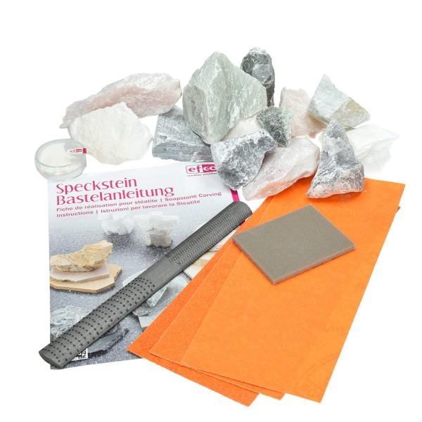 Kit Stéatite et Outils, 1,5 kg Pierre tendre, lime, papier abrasif, pâte de polissage - Photo n°1
