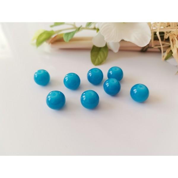 Perles en verre imitation jade 10 mm bleu x 10 - Photo n°1