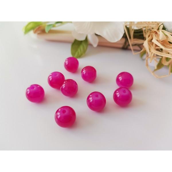 Perles en verre imitation jade 10 mm fuchsia x 10 - Photo n°1