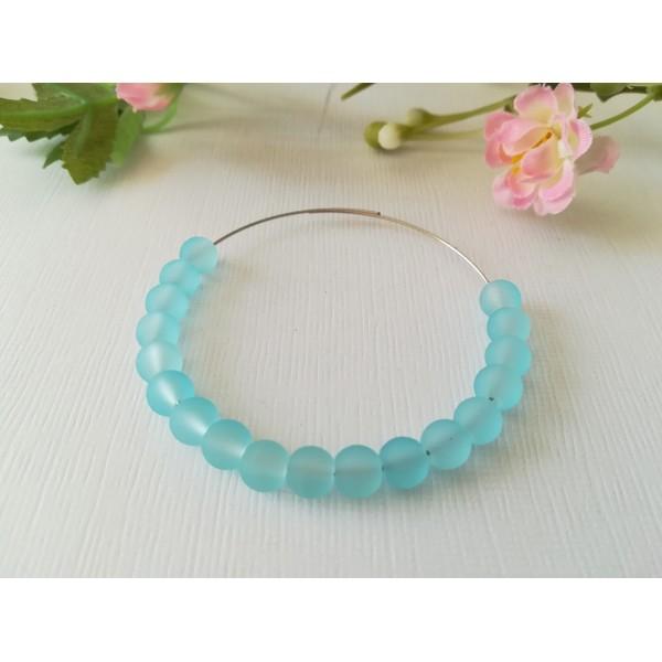 Perles en verre givré 6 mm bleu ciel x 25 - Photo n°2