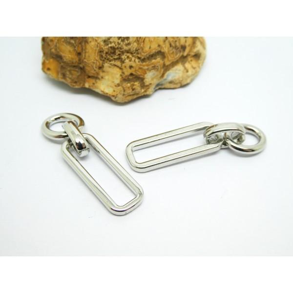 2 Breloques forme maillon de chaîne ovale et rectangle, 40*10mm, laiton argenté - Photo n°1