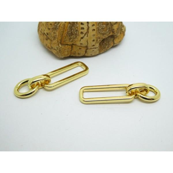 2 Breloques forme maillon de chaîne ovale et rectangle, 40*10mm, laiton doré - Photo n°1