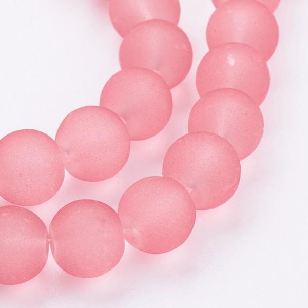 Perles en verre dépoli 8 mm saumon foncé x 20 - Photo n°2