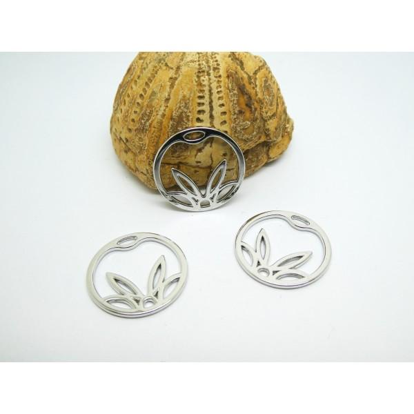 4 Breloques rondes fleur de lotus 20mm laiton argenté - Photo n°1