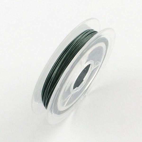 Fil acier câblé 0.38 mm vert kaki x 10 m - Photo n°1