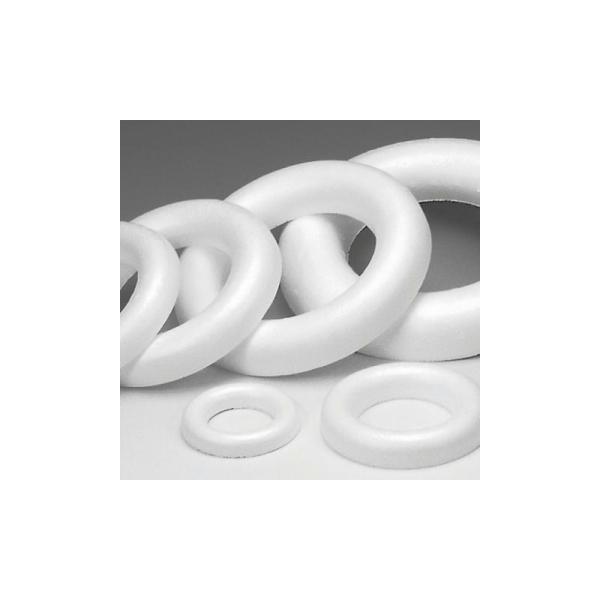 Demi Anneau - Couronne polystyrène blanc à fond plat, 30 cm - Photo n°1