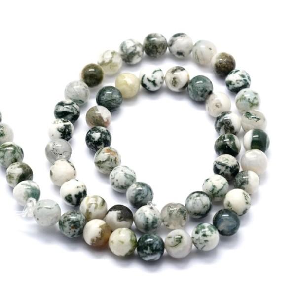 90 Perles Agate D'arbre Naturelle 4 mm - Photo n°1