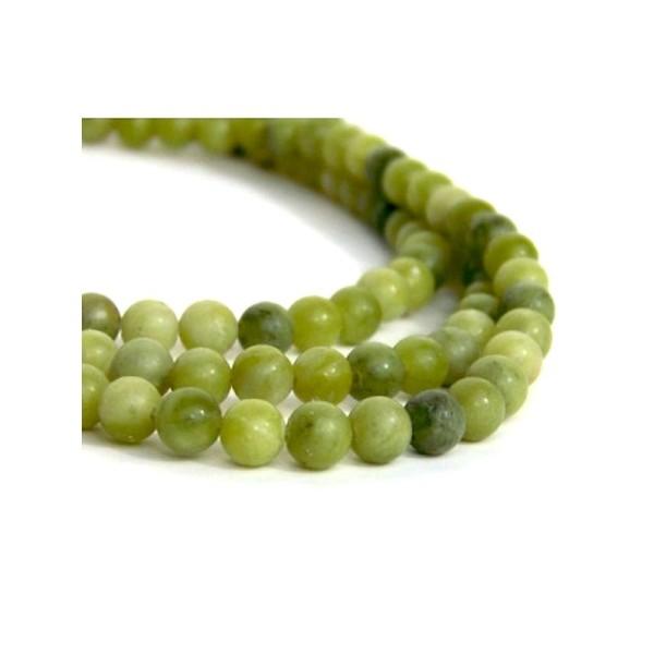 90 Perles en Jade naturel vert 4 mm - Photo n°1