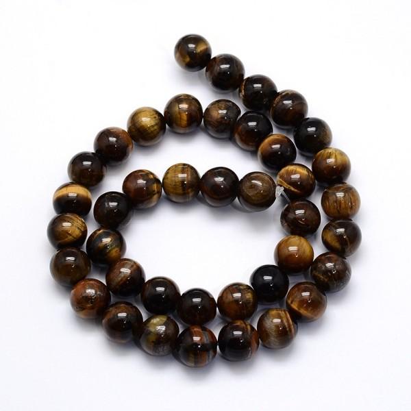 85 Perles naturelle perles ronde oeil de tigre brins 4mm - Photo n°1