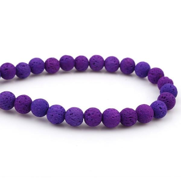 48 Perles de lave 8mm couleur violet - Photo n°1