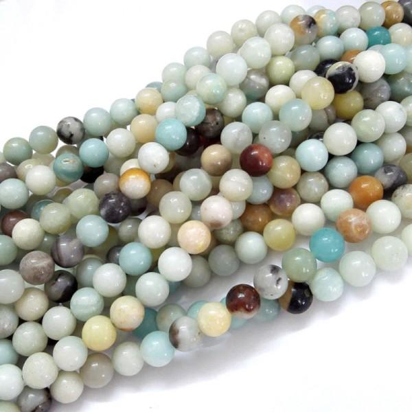 20 Perles en amazonite naturelle 8mm - Photo n°1