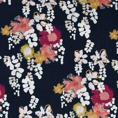Tissu coton Frou Frou - Glycine Navy - Vendu par 10 cm
