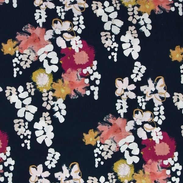 Tissu coton Frou Frou - Glycine Navy - Vendu par 10 cm - Photo n°1