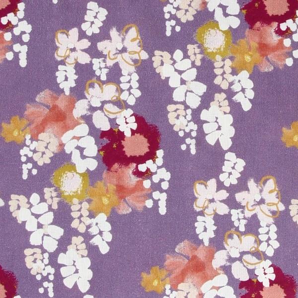 Tissu coton Frou Frou - Glycine Parme - Vendu par 10 cm - Photo n°1