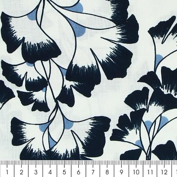 Tissu coton Frou Frou - Ginkgo Navy - Vendu par 10 cm - Photo n°2