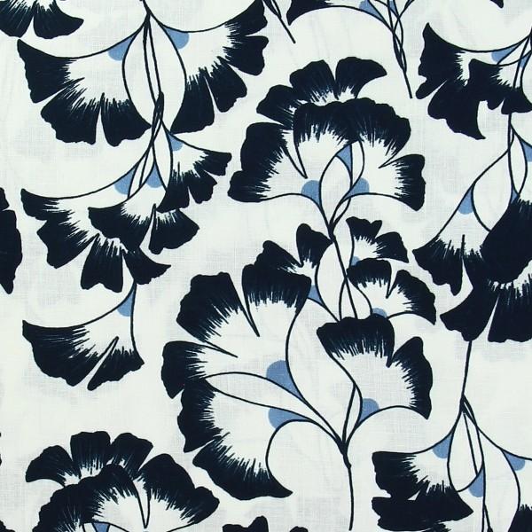 Tissu coton Frou Frou - Ginkgo Navy - Vendu par 10 cm - Photo n°1