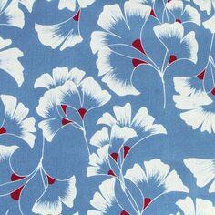 Tissu coton Frou Frou - Ginkgo Bleu Ciel - Vendu par 10 cm