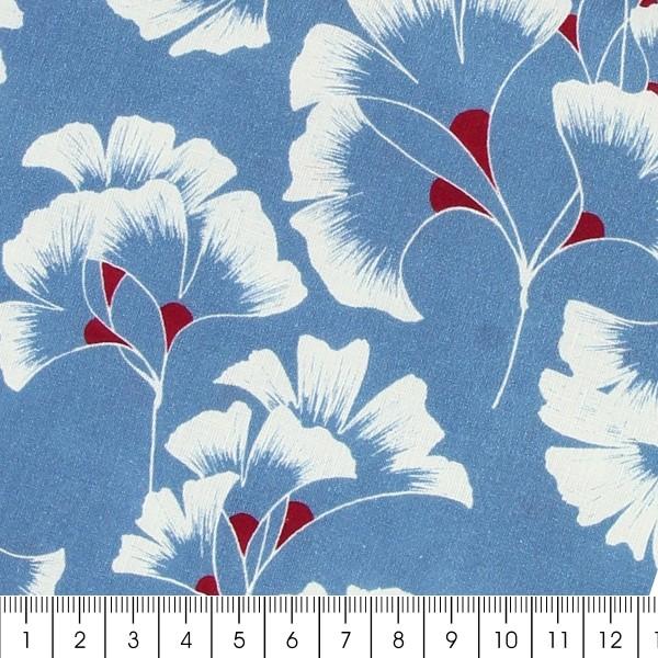Tissu coton Frou Frou - Ginkgo Bleu Ciel - Vendu par 10 cm - Photo n°2