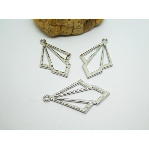 2 Breloques géométriques forme losange 32*19mm argenté - 1 face lisse, 1 face martelée - Photo n°1