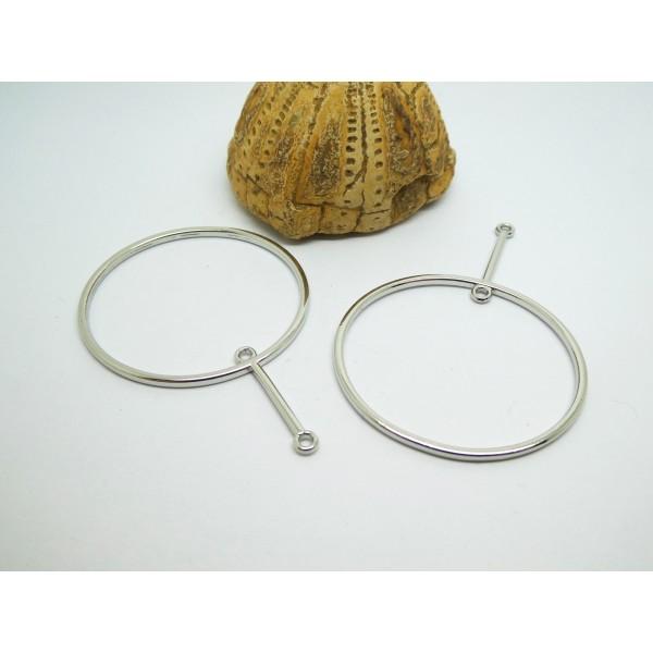2 Pendentifs connecteurs graphiques, rond avec 2 boucles 58*40mm argenté - Photo n°1