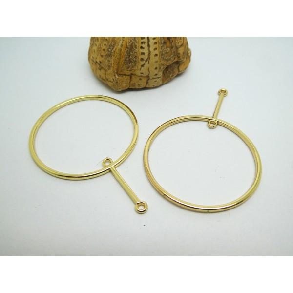 2 Pendentifs connecteurs graphiques, rond avec 2 boucles 58*40mm doré - Photo n°1