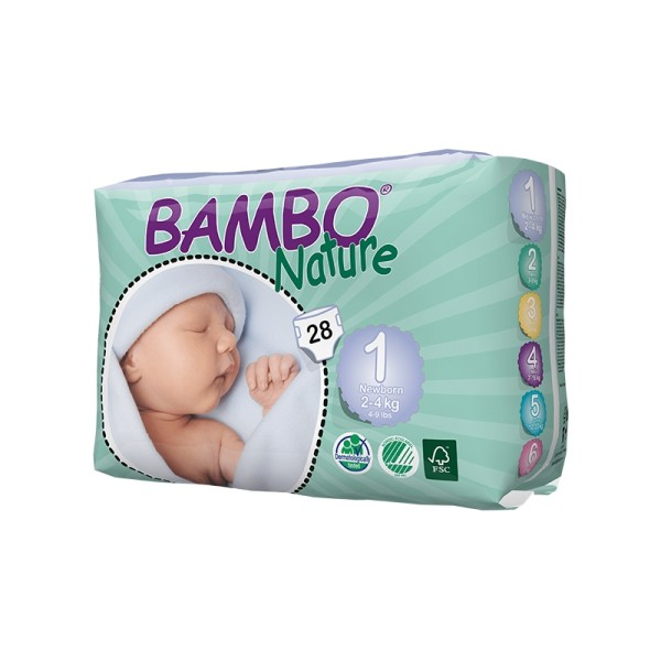 Couches Bambo Nature New Born T1 - 2/4 kg - paquet de 28 - Photo n°1