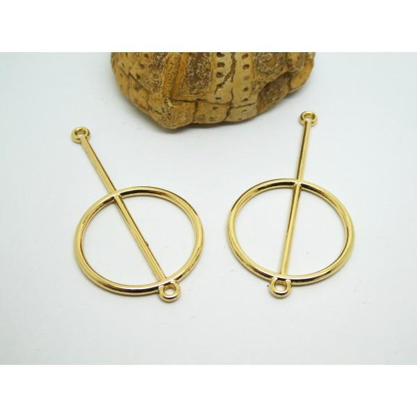 4 Connecteurs ronds graphiques 48*25mm doré, supports boucles d'oreilles - Photo n°1