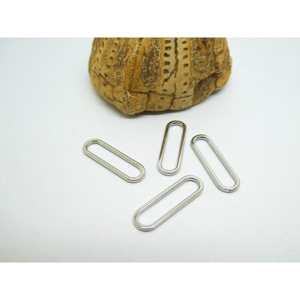 8 Connecteurs forme ovale, trombone 20*6mm argenté, anneaux fermés trombone, rectangle - Photo n°1