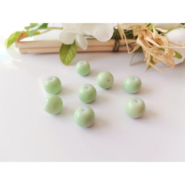 Perles en verre ronde 10 mm vert pale x 10 - Photo n°1