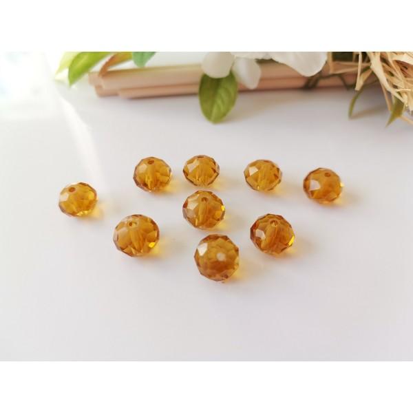 Perles en verre à facette 10 x 8 mm ambre x 10 - Photo n°1