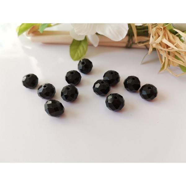 Perles en verre à facette 10 x 8 mm noire x 10 - Photo n°1