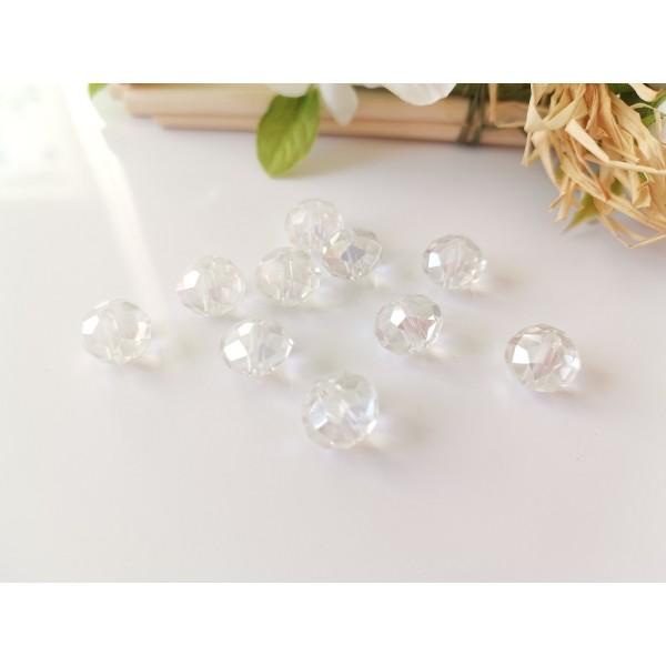 Perles en verre à facette 10 x 8 mm cristal AB x 10 - Photo n°1