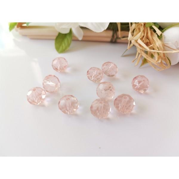 Perles en verre à facette 10 x 8 mm rose x 10 - Photo n°1