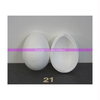 Grand Oeuf polystyrène 21 cm, séparable, densité supérieure