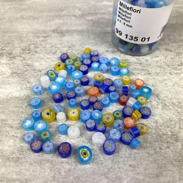 Millefiori, émaux milles fleurs, 5 à 6 mm, mélange de couleurs, flacon de 40 g - Photo n°3