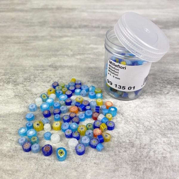 Millefiori, émaux milles fleurs, 5 à 6 mm, mélange de couleurs, flacon de 40 g - Photo n°1