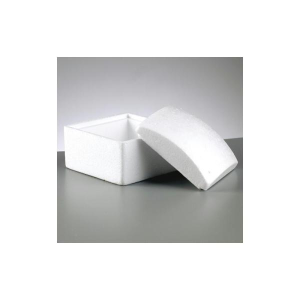 Boite carrée avec couvercle, côté 13cm et haut. 10cm, en polystyrène - Photo n°1