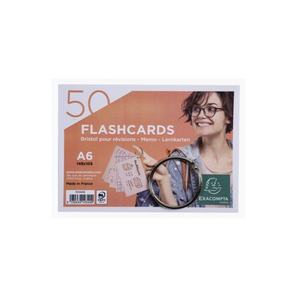 50 Fiches Bristols Vertes - A6 148 X 105 Mm + 1 Anneau Métallique - Flashcards - Exacompta - Photo n°2