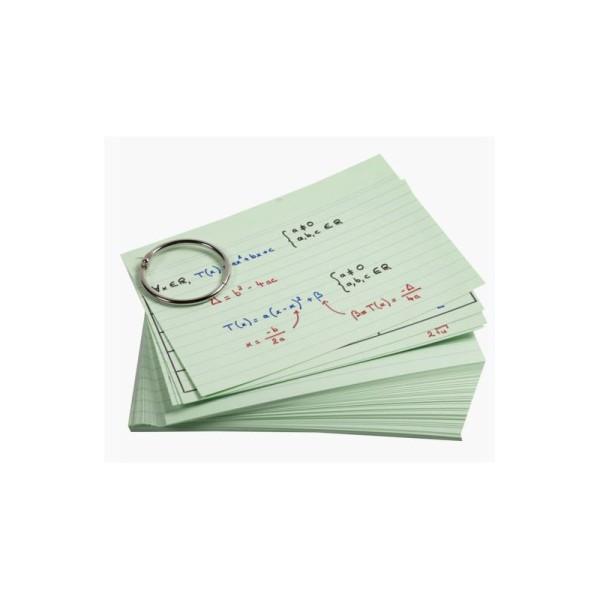 50 Fiches Bristols Vertes - A6 148 X 105 Mm + 1 Anneau Métallique - Flashcards - Exacompta - Photo n°1