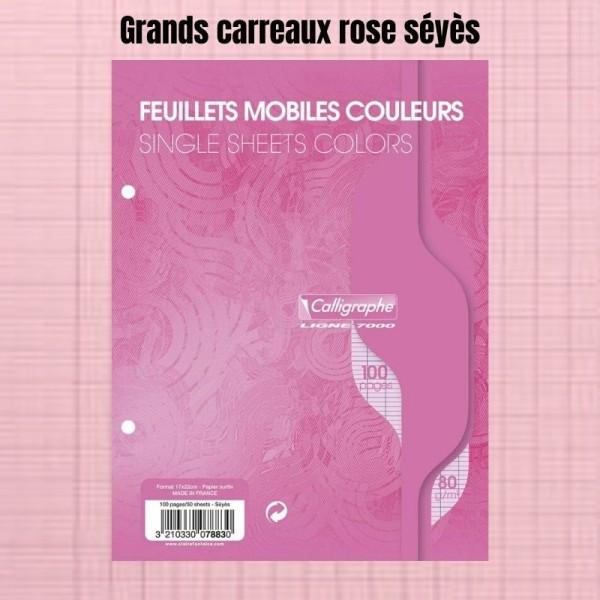 Feuillets Mobiles Rose Perforées 17X22 Grands Carreaux Seyes 80G Clairefontaine - Photo n°1