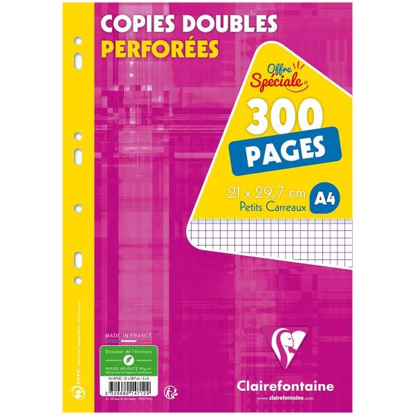 Copies doubles perforées A4 - Petits carreaux - 300 pages - Photo n°1