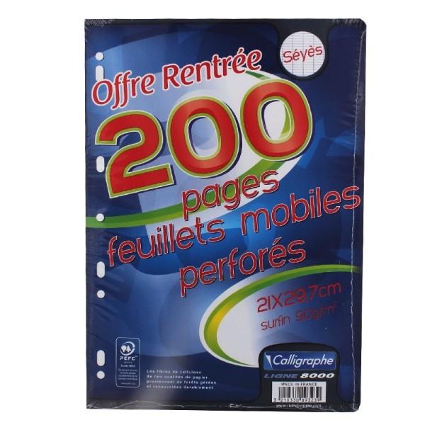 200 Feuillets Mobiles Perforées 21X29,7 A4 Grands Carreaux Seyes 90G Clairefontaine - Photo n°2