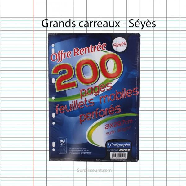 200 Feuillets Mobiles Perforées 21X29,7 A4 Grands Carreaux Seyes 90G Clairefontaine - Photo n°1
